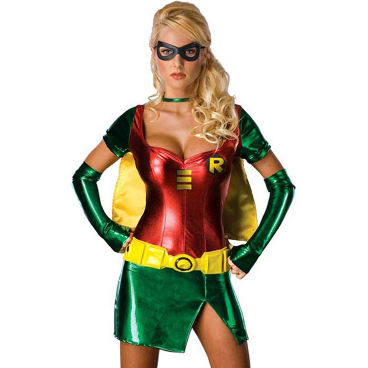 Adult Sexy Women's Greeen Red Short Robin Role Play Halloween Costume N6399