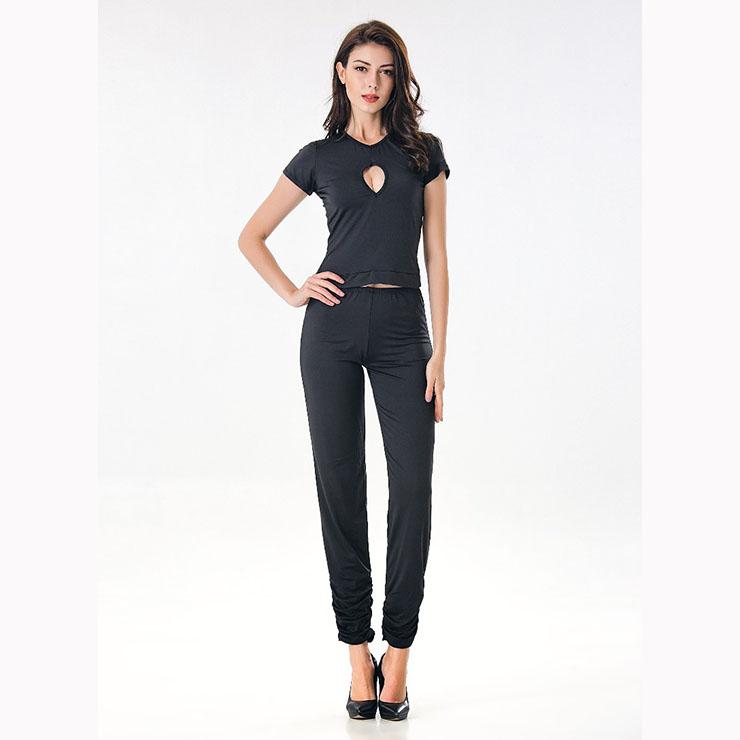 Black Adult Yoga Fitness Suit Halloween Nightclub Dance Costume N17128