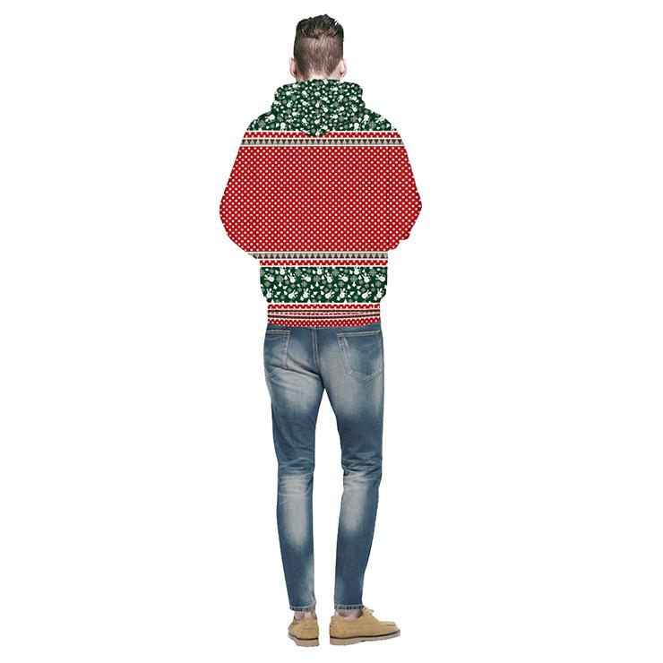 Loose Casual Hoodie, Couples Christmas Costumes, Hoodies for Women, Long Sleeve Hoodie, Lovely Christmas Costumes, 3D Digital Print Chic Ugly Christmas Hoodie, #N15121