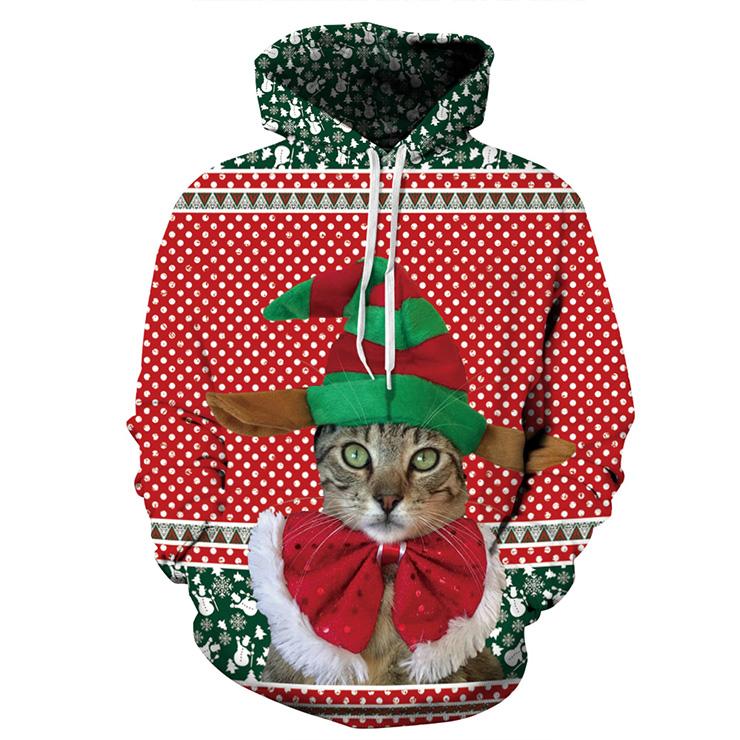 Couples All-match Christmas Cat Printed Long Sleeve Christmas Hoodie N15121