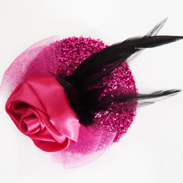 Amaranth Rose Mesh Bowknot Long Black Feather Shiner Mini Top Hat Hair Clip J7056
