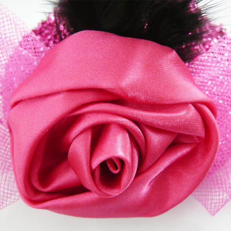 Amaranth Flower Flannel mini Top Hat, Sequin Rose Mini Top Hat, Mini Top Hat, #J7056
