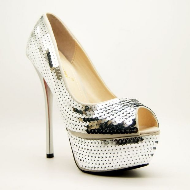 Sequinned Peep-Toe Court Shoes SWS12024