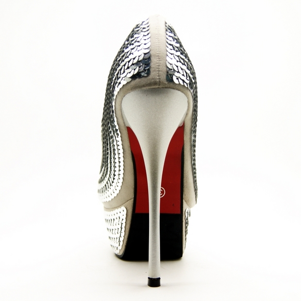 Peep Toe Shoes, Court Shoes, Silver Sequinned Peep Toe Shoes, #SWS12024