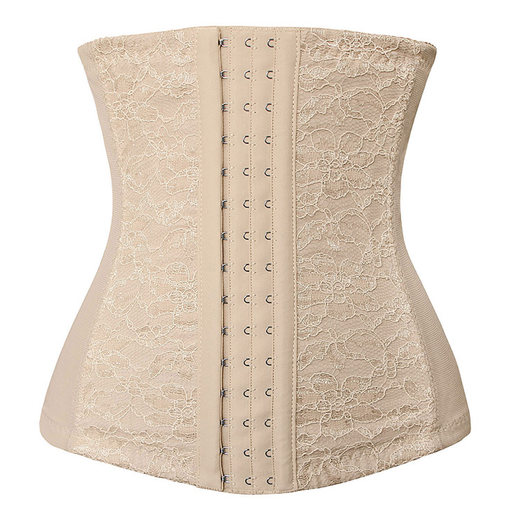 Apricot Waist Cincher Body Shaper Corset, Lace Decorated Waist Training Corset, Spiral Steel Boned Underbust Corset, Steel Boned Waist Cincher, Steel Boned Waist Trainer, #N9408