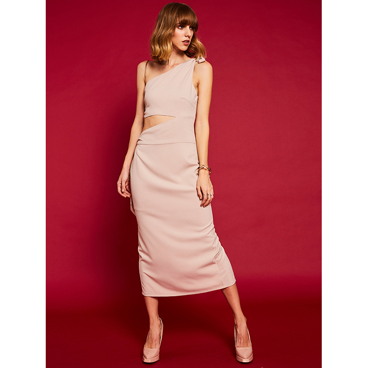 Women's Fashion Apricot One Shoulder Oblique Collar Sleeveless Maxi Dress N14939