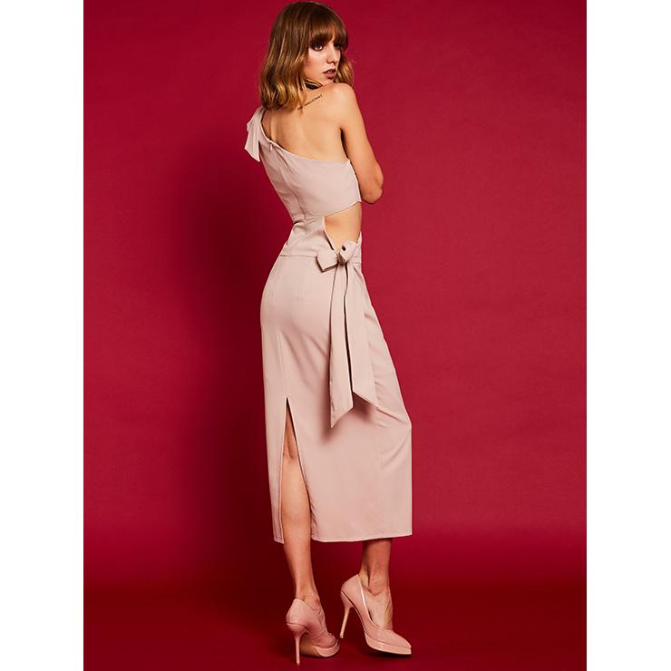 Oblique Collar Maxi Dress, Sleeveless Maxi Dress, Casual Maxi Dress, Maxi Dresses for Women Casual, One Shoulder Maxi Dress, #N14939