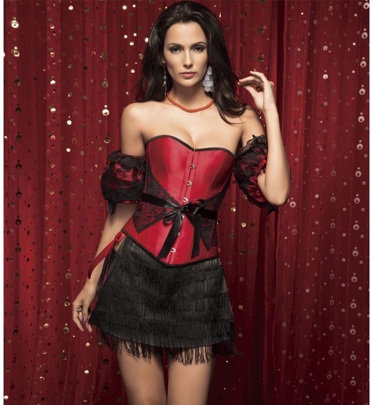 Belted Corset, lace and satin belted corset, lace and satin corset, #N2002