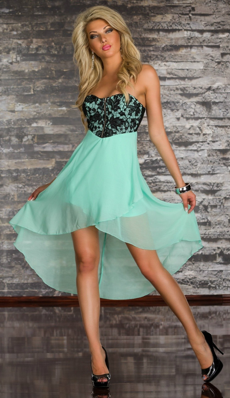 Strapless Lace Top Mullet Dress N7484