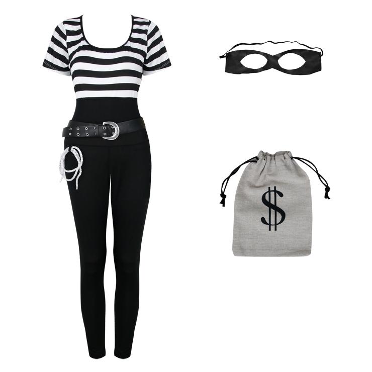 Bank Robbin Cosplay Costume, Sexy Robber Costume for Women, Sexy Money Robber Halloween Costume, Robbin Bandit Adult Cosplay Costume, #N17742