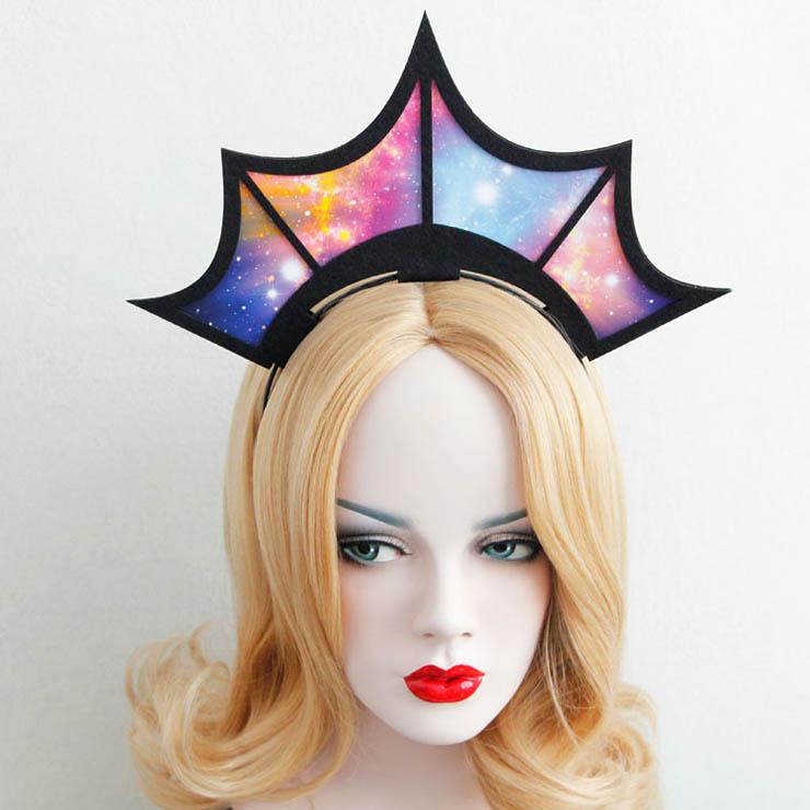 Hand-made Bat Wing Crown Carnival Hair Hoop J12823
