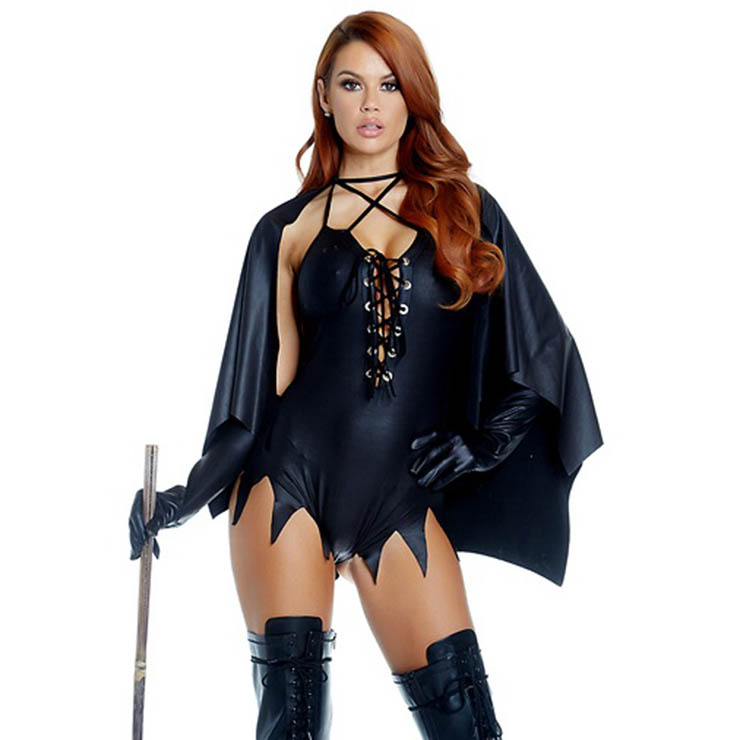 womens black bat witch bodysuit adult halloween costume n17737