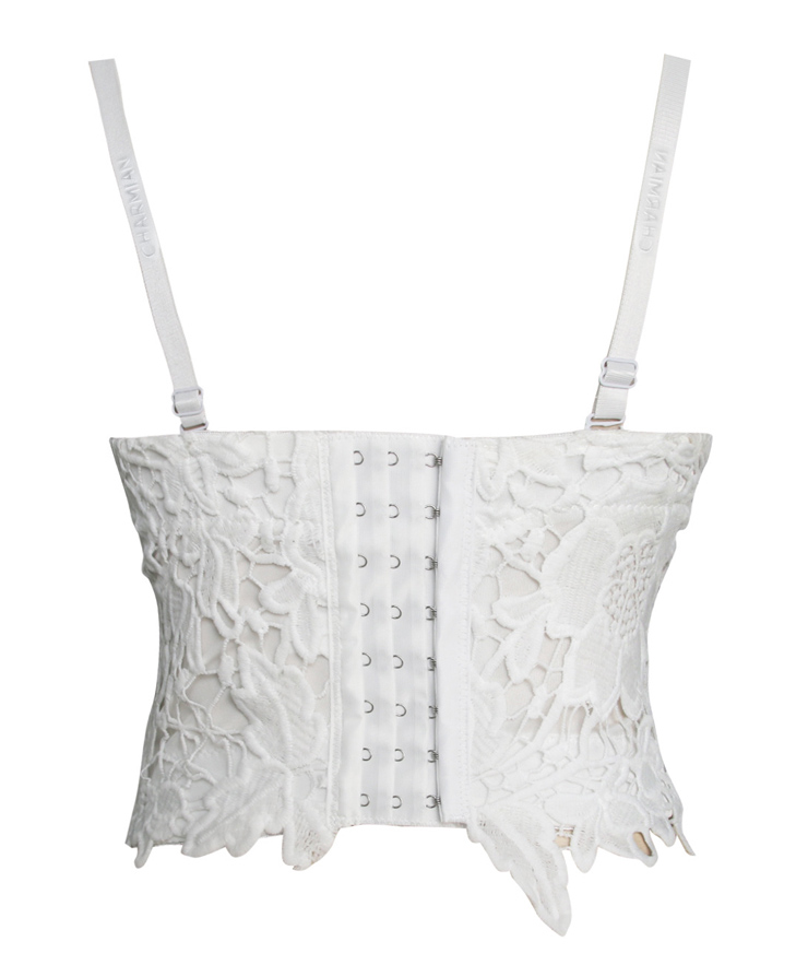 White Strap Bustier Bra, Crop Top Lace Camisoles Bra, Floar Lace Bustier Bra, #N8594