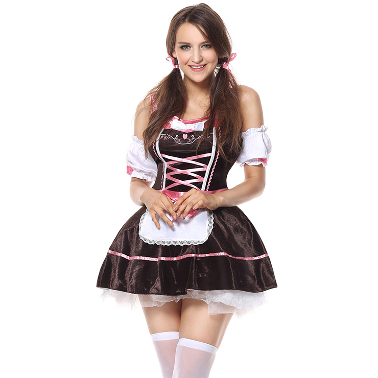 Beer Girl Carrie Me Home Costume, Pink and Brown Beer Girl Costume, German Beer Girl Halloween Costume, #N6352