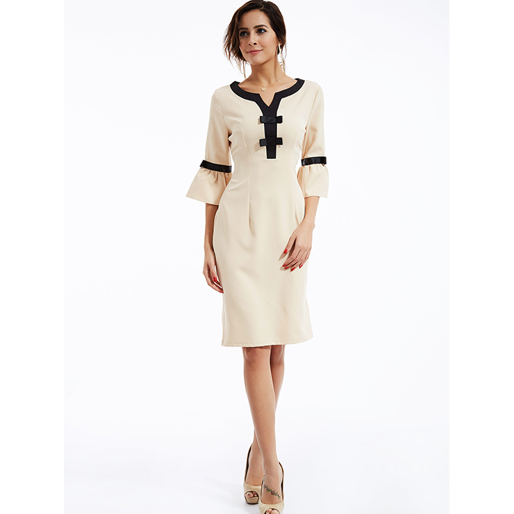 Elegant Women s Beige Bell Bottom Sleeve Bodycon Midi Dress N14293 73d9b61fd