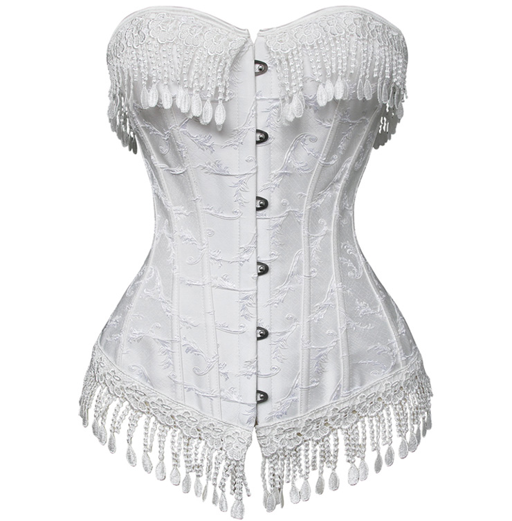 Palace Series Beige Fringed Strap Jacquard Weave Busk Closure Outerwear Corset N9632