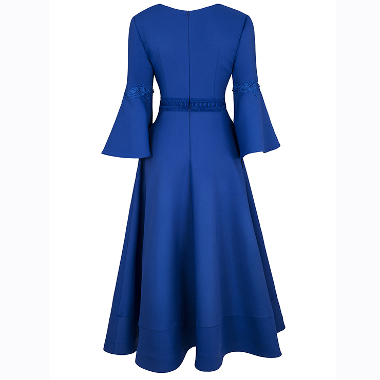 Women S Bell Sleeve V Neck Appliques A Line Dress N15589