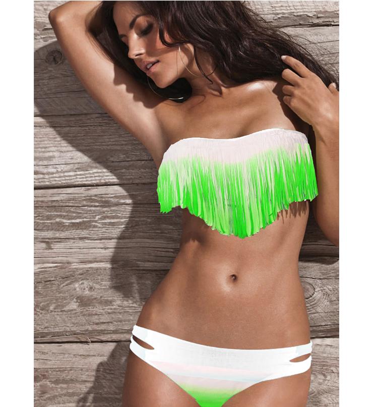 Green and white bikini 10