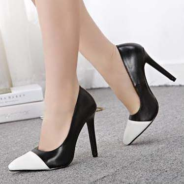 Black And White Split Joint Fair Lady Office Pointed Toe High Heels Sws20181