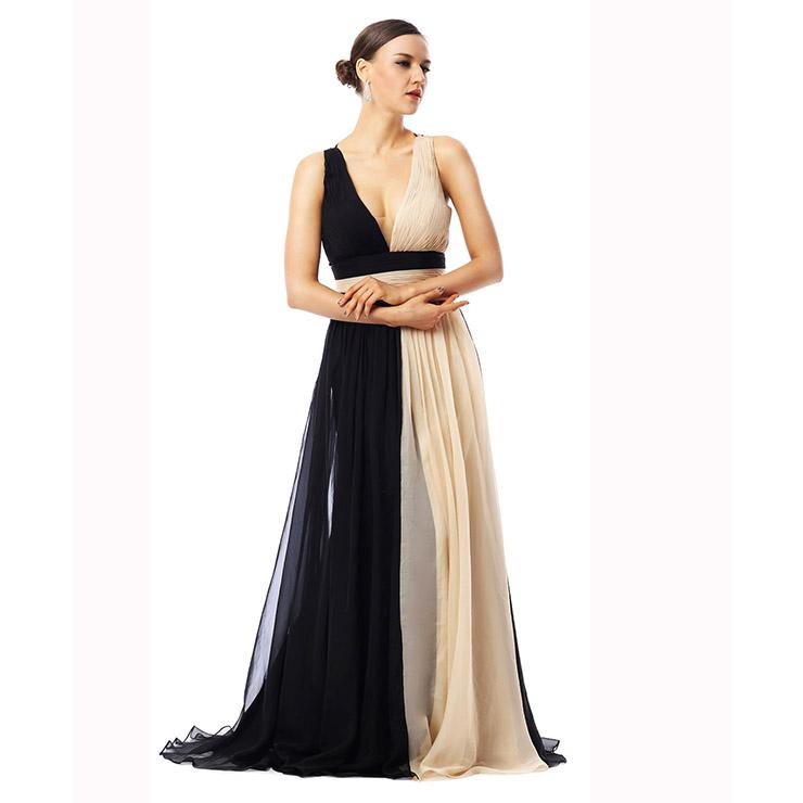 2018 Exclusive Black Apricot A-line V-neck Sleeveless Tencel Chiffon Long Evening Dresses F30018