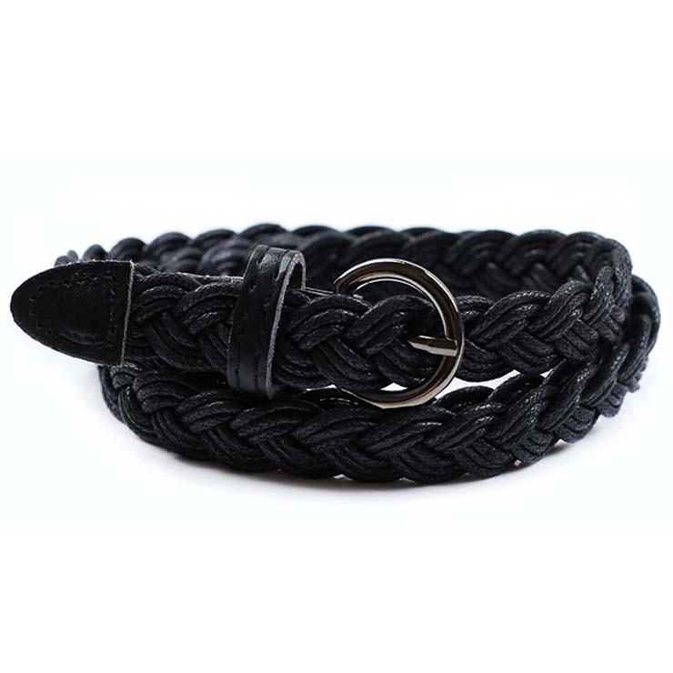 Women's Fashion Black Braided Single Prong Buckle Thin Waist Belt N16059