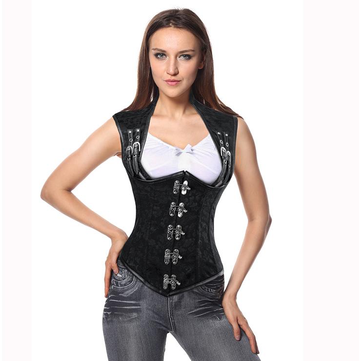 Steampunk Black Brocade Vest Corset, Vintage Steel Boned Vest Underbust Corset, Sexy Brocade Vest Corset, Waist Cincher Vest Underbust Corset, Steampunk Corset, Steel Boned Waist Cincher, #N10403