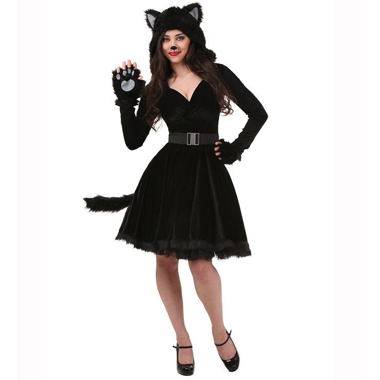 Women's Black Cat Cosplay Adult Halloween Costume N14981