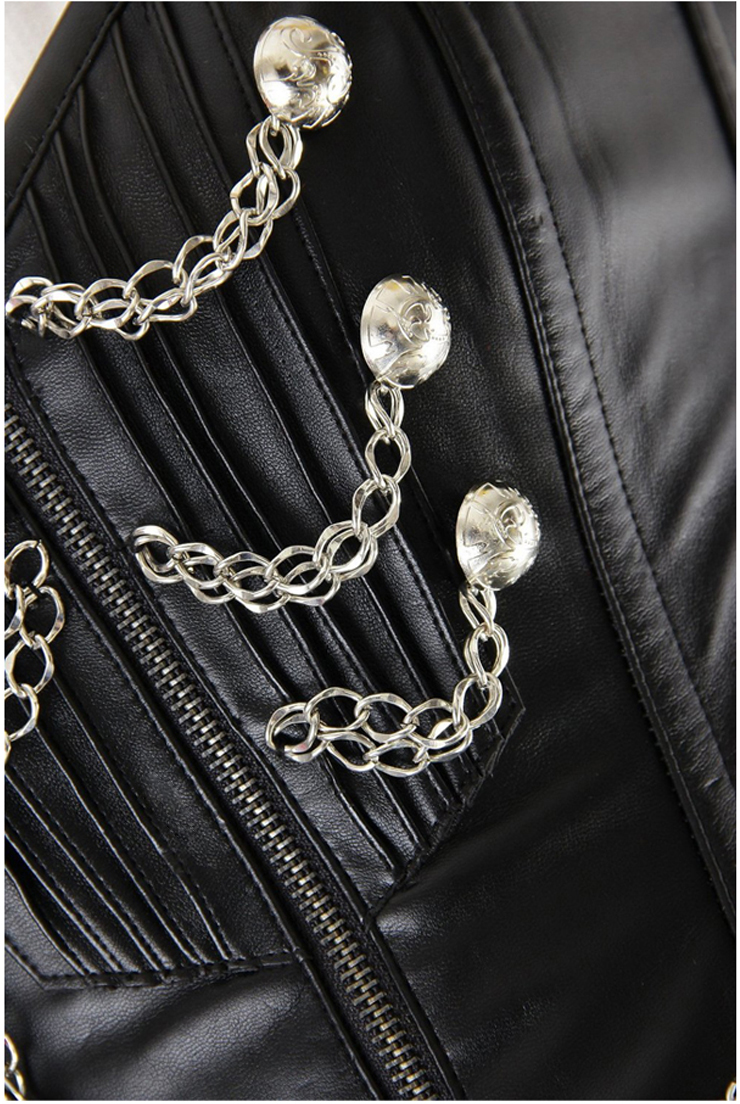 Steel Bones Corset, Black Chains Steampunk Corset, Chains Steampunk Corset, #N5437