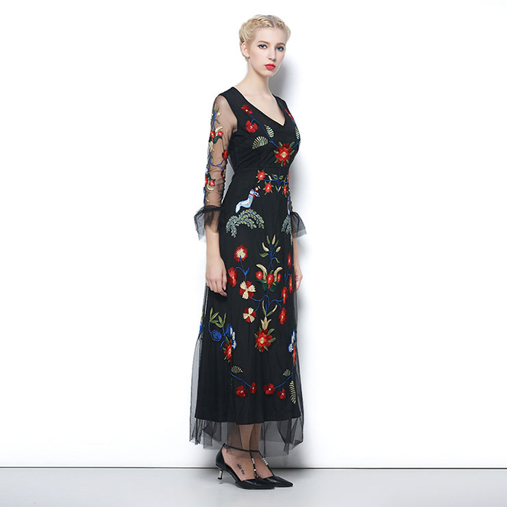 7772a304ab98 Vintage Charming Chiffon Embroidery Floral Evening Maxi Dresses N11531