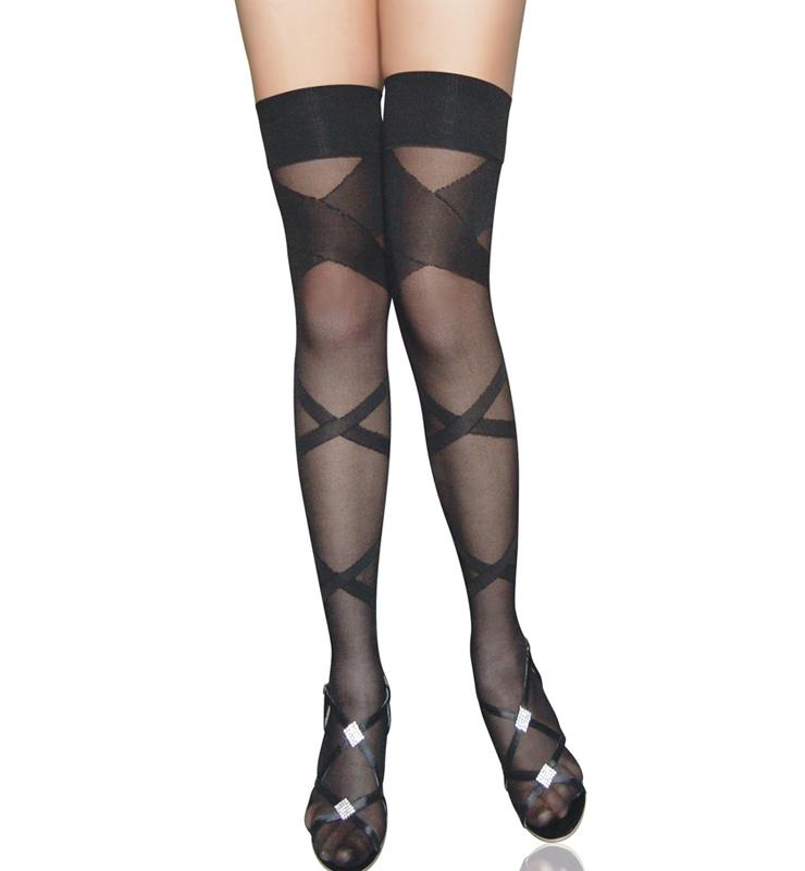 Black Criss Cross Stockings HG6637