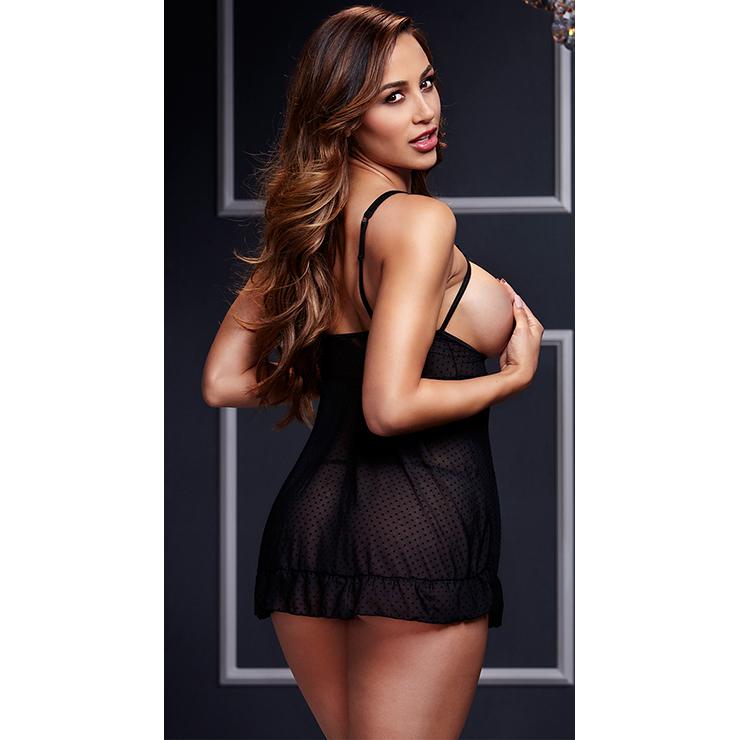 Black Double Straps Cupless Dot Mesh Babydoll Lingerie Sleepwear Dress  N16902 f82e2bbee