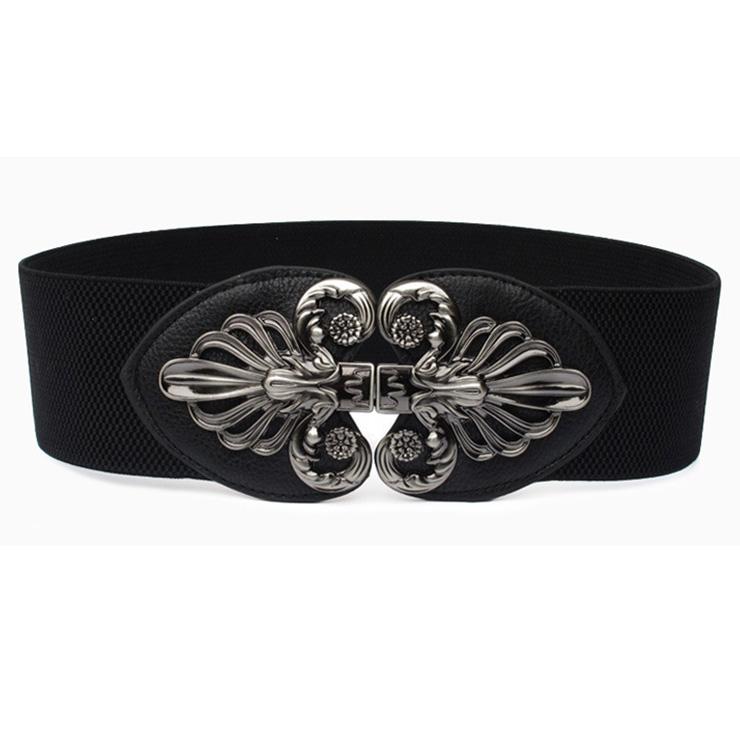 Fashion Black Elastic Wide Waistband Floral Alloy Interlock Buckle Waist Belt N18252