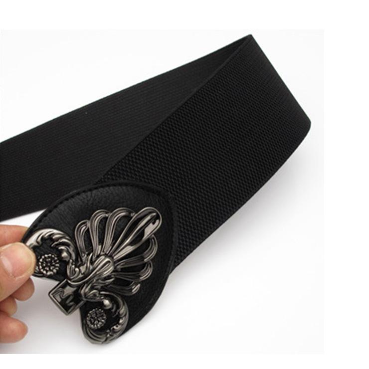 Black Wasit Belt, High Waist Cinch Belt, Interlock Buckle Elastic Wasit Belt, Wide Waist Cincher Belt Black, Elastic Wide Waistband Cinch Belt, Elastic Waist Belt for Women, #N18252