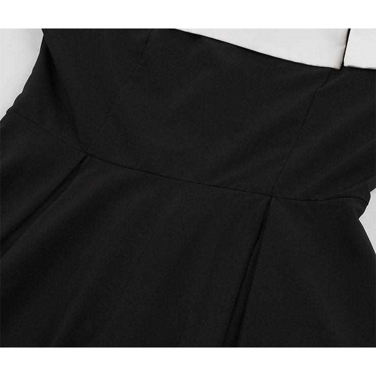 Fashion Dress, Womens Elegant Dress, Elegant Off Shoulder Long Sleeves Dress, Black Off Shoulder Midi Dress, Elegant Long Sleeves Dress, #N18266