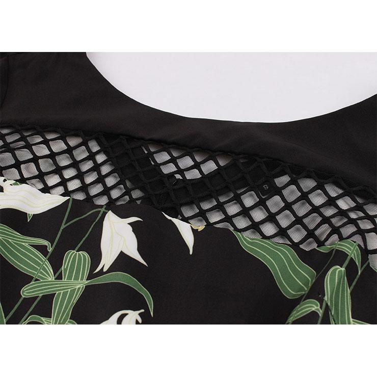 Fashion Dress, Womens Elegant Dress, Elegant Round-neck Trumpet Sleeves Dress, Lily Printed Midi Dress, Elegant Trumpet Sleeves Dress, Black Round-neck Trumpet Sleeves Midi Dress,#N18269