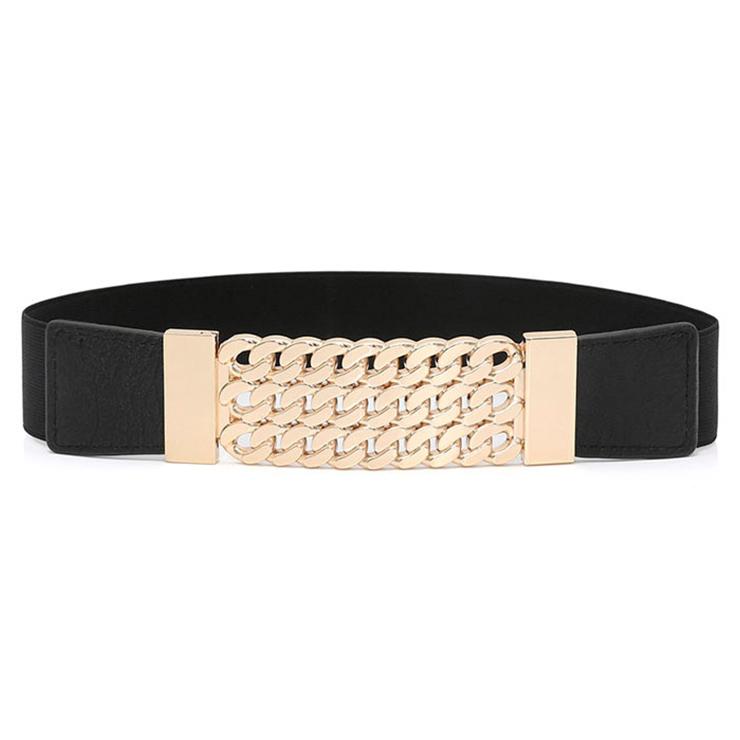 Women's Fashion Black Faux Leather Hollow Out Metal Elastic Waist Belt N16939