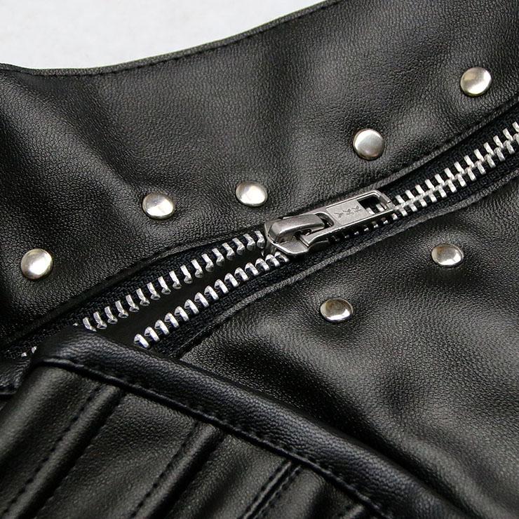 Punk Steel Boned Corset, One-shoulder Overbust Corset, Cheap Zipper Corset, Faux Leather Overbust Corset, Waist Cincher Outerwear Corset, #N10616