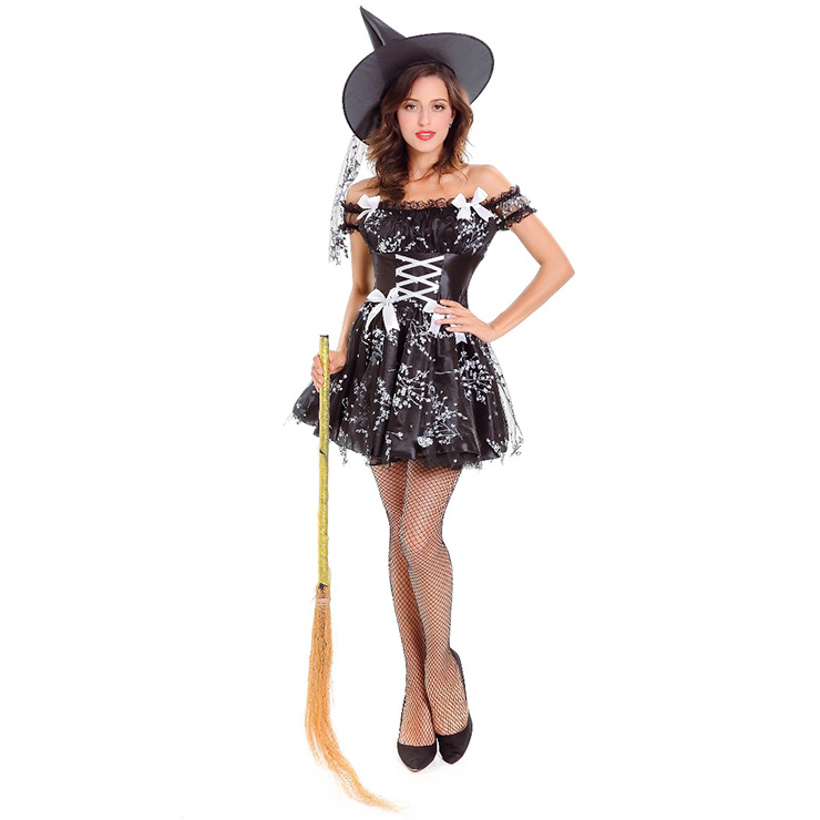 Women S Black Floral Witch Costume N14621