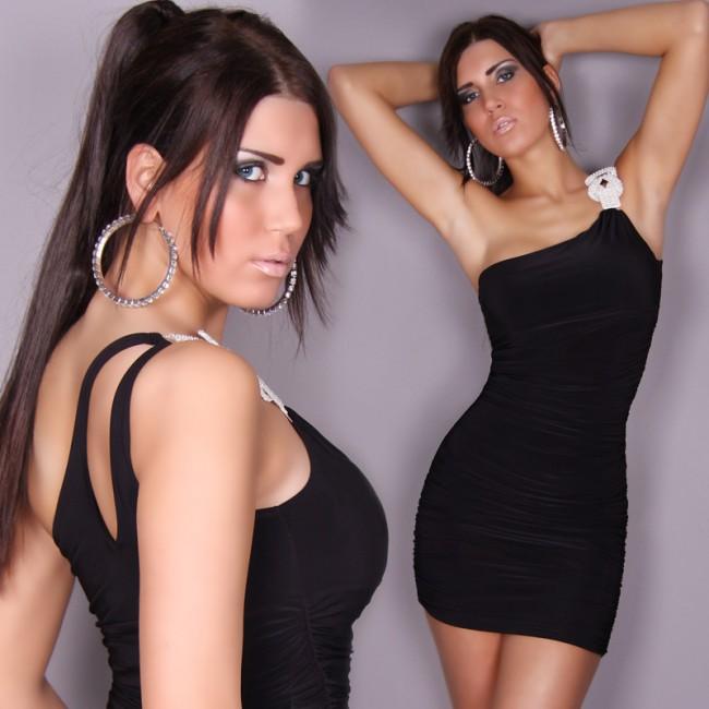 Black Glamour One Shoulder Dress N6791