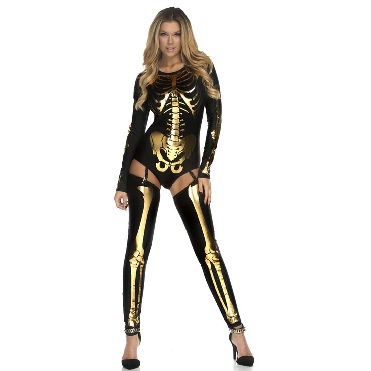sexy black and gold skeleton print bodysuit halloween costume n11216