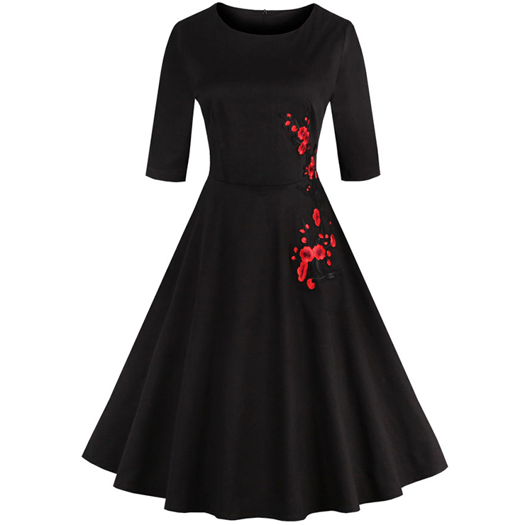 Classic 1950's Vintage Black Half Sleeves Casual Cocktail Party Dress N11651