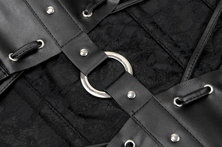 Sexy Black Steel Boned Corset, Steampunk Halter Neck Corset, Vintage Black Brocade Corset, Cheap Gothic Corset, #N11935