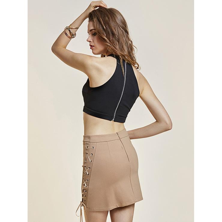 838cf3a119cf33 Black Crop Top for Women, High Neck Black Crop Top, Lace Up Vest,