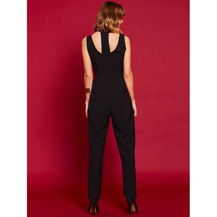 Wide LegJumpsuit, Jumpsuits for Women, V Neckline Jumpsuit, Slim Plain Jumpsuit, Sleeveless Jumpsuit, Fashion Jumpsuit, #N14940