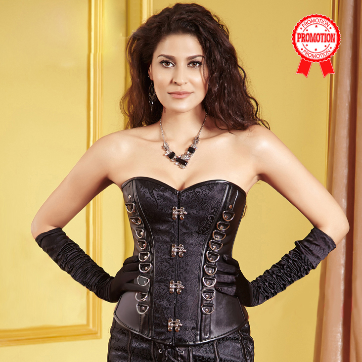 Black Jacquard Faux Leather Steampunk Corset N9490