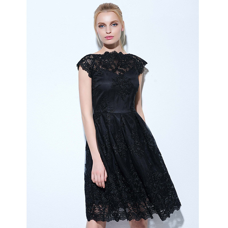 126ec065f20a Women's Black Lace Appliques Cap Sleeve A-Line Knee-Length Cocktail Prom  Dress N16064