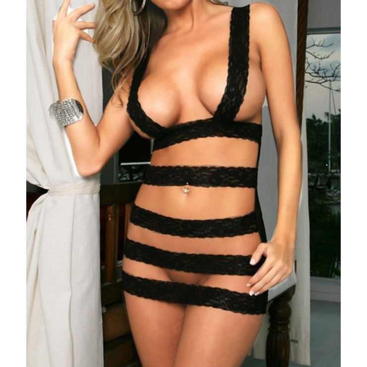 Sexy Black Lace Bandage Crotchless Sheer Mesh Chemise Lingerie N17072