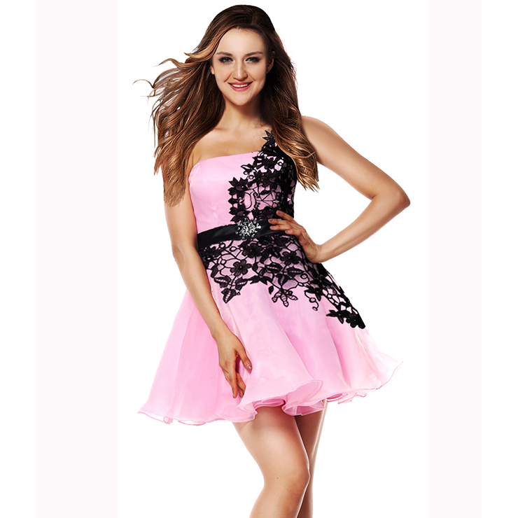 2018 Fairy Pink A-line Black Applique One-shoulder Waist Crystal Short Sweet 16/Homecoming Dresses Y30051