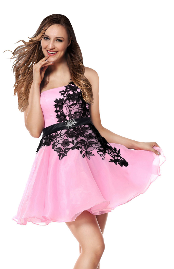 bdb005a5ccc 2018 Fairy Pink A-line Black Applique One-shoulder Waist Crystal Short  Sweet 16/Homecoming Dresses Y30051