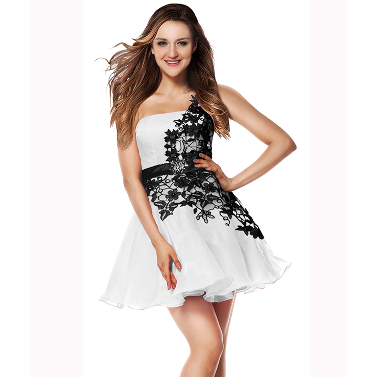 Fairy A-line Applique One-shoulder Waist Crystal Short Sweet 16/Homecoming Dresses Y30091